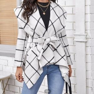 Waterfall Collar Plaid Belted Overcoat